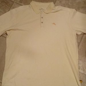 Tommy Bahama Pale yellow polo shirt ss mens XL
